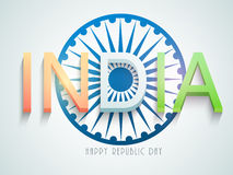 Happy Indian Republic Day celebration with Ashoka Wheel. Happy Indian Republic Day celebration with 3D text India in national flag color and Ashoka Wheel on Stock Photo