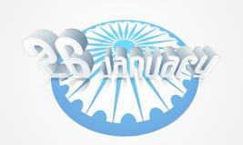 Happy Indian Republic Day celebration with Ashoka Wheel. 3D text 26th January on Ashoka Wheel background for Happy Indian Republic Day celebration Royalty Free Stock Images