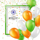 Happy Indian Republic day celebration background. Happy Indian Republic day celebration poster or banner background, card. Three color balloons with confetti vector illustration