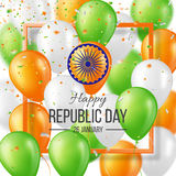 Happy Indian Republic day celebration background. Happy Indian Republic day celebration poster or banner background, card. Three color balloons with confetti royalty free illustration