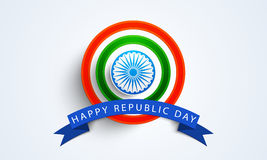 Happy Indian Republic Day celebration badge or label. Stock Photo