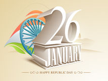 Happy Indian Republic Day celebration concept. 3D text 26 January with Ashoka Wheel and national flag colors for Happy Indian Republic Day celebrations Stock Photo
