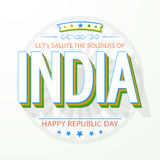 Happy Indian Republic Day celebration with 3D text. 3D text India in national tricolor with Ashoka Wheel for Happy Indian Republic Day celebration Royalty Free Stock Photo