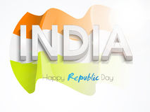Happy Indian Republic Day celebration with 3D text. Royalty Free Stock Photo