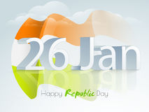 Happy Indian Republic Day celebration with 3D text. 3D text 26 January with waving national flag for Happy Indian Republic Day celebration on cloudy sky Stock Image