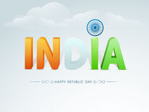 Happy Indian Republic Day celebration with 3D text. National flag color text India with Ashoka Wheel for Happy Indian Republic Day celebration on cloudy sky Stock Images