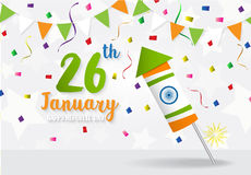 Happy Indian Republic Day celebration. Firecracker flag color greeting background royalty free illustration