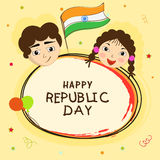 Happy Indian Republic Day celebration with kids. Stock Photos