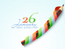 Happy Indian Republic Day celebration with pencil. 26 January, Happy Indian Republic Day celebration with pencil covered by national tricolor ribbon on sky blue Royalty Free Stock Image