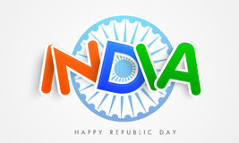 Happy Indian Republic Day celebration with stylish text. Stock Photos