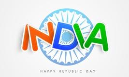 Happy Indian Republic Day celebration with stylish text. Stock Photos