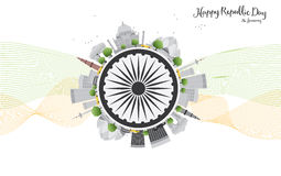Happy Indian Republic Day celebration. Vector illustration. Stock Photography