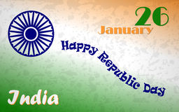Happy Indian Republic day poster with text 26 January. Green, orange and white flag colors with blue Ashoka Wheel Stock Photo