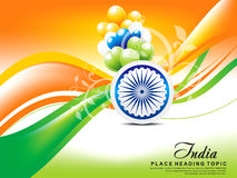 Happy indian republic day wave background with balloon. Vector illustration Stock Photos