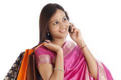 Happy Indian traditional woman Royalty Free Stock Image