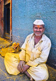 Happy Indian villager. A Happy Indian villager outside temple Royalty Free Stock Image