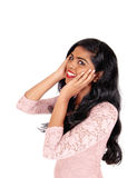 Happy Indian woman with long hair. Royalty Free Stock Photography