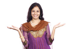 Happy indian woman with open palms Stock Images