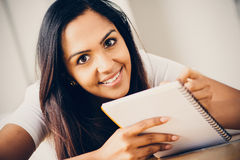 Happy Indian woman student education writing studying Royalty Free Stock Photography