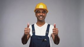 Happy indian worker or builder showing thumbs up stock video