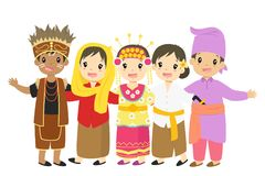 Free Happy Indonesian Children In Traditional Dress Cartoon Vector Stock Images - 107541334