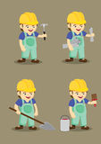 Happy Industrial Worker and Tools Vector illustration Royalty Free Stock Images