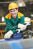 Happy industry worker repairman with spanner Stock Images