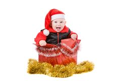 Happy infant in box #2 stock photography