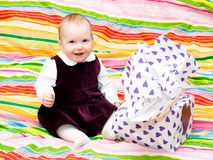Happy infant with gift Royalty Free Stock Image