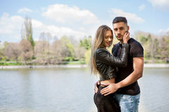 Happy inlove couple in the park Royalty Free Stock Photo