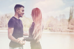 Happy inlove couple in the park Stock Photo