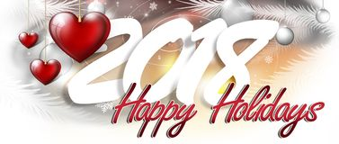 Happy 2018 inscription. The inscription happy new year and holidays with festive decorations Stock Images