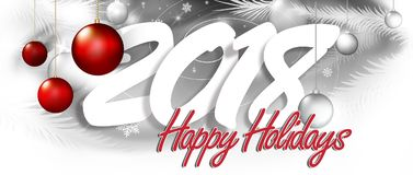Happy 2018 inscription. The inscription happy new year and holidays with festive decorations Stock Photo