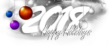 Happy 2018 inscription. The inscription happy new year and holidays with festive decorations Royalty Free Stock Photos