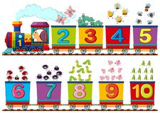 Happy insect on the train number vector illustration