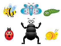 Happy insects. Various cute happy insects collection vector illustration Stock Photos
