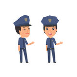 Happy and Intelligent Character Constabulary making presentation Stock Image