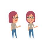Happy and Intelligent Character Girl Designer making presentation Stock Photo