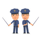 Happy and Intelligent Character Officer making presentation usin Stock Images