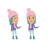 Happy and Intelligent Character Winter Girl making presentation Royalty Free Stock Photos