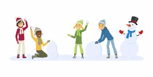 Happy international children play outdoors - cartoon people characters illustration. Smiling boys and girls throwing snowballs and building a snowman. Concept Stock Images