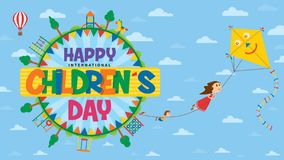 Free Happy International Children`s Day Greeting Card. Text Inside A Circle Surrounded By Playgrounds And Trees Where Children Fly Stock Photo - 147937980