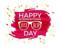 Happy International Surfing day label graphic. Vacation typography emblem on watercolor ink splash. Surfer party badge Royalty Free Stock Photography