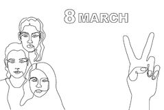 Happy International Women`s Day card. Continuous line drawing. Linear women faces and slogan 8 March Stock Images