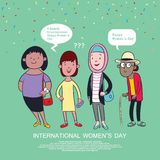 Happy international women`s day, women cartoon vector illustration, poster or banner design vector illustration