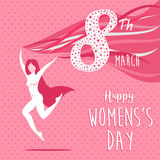 Happy international women`s day celebration girl. Happy international 8 march women`s day. Pink concept illustration, active woman in celebration of equal rights Royalty Free Stock Image