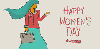 Happy international women`s day concept design. Happy international women`s day everyday concept background. Independent business modern woman in hand drawn royalty free illustration