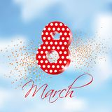 Happy International Women`s day greeting card.3d number eight in the sky. Vector illustration. Typographic composition for March 8 royalty free illustration