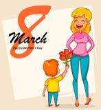 Happy International Women`s Day greeting card stock illustration