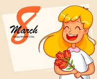 Happy International Women`s Day greeting card royalty free illustration